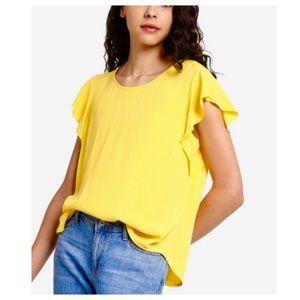 Banana Republic Yellow Button Flutter Sleeve Top S